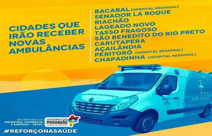Governo entrega mais 10 ambulâncias para cidades do Maranhão na sexta-feira (27).